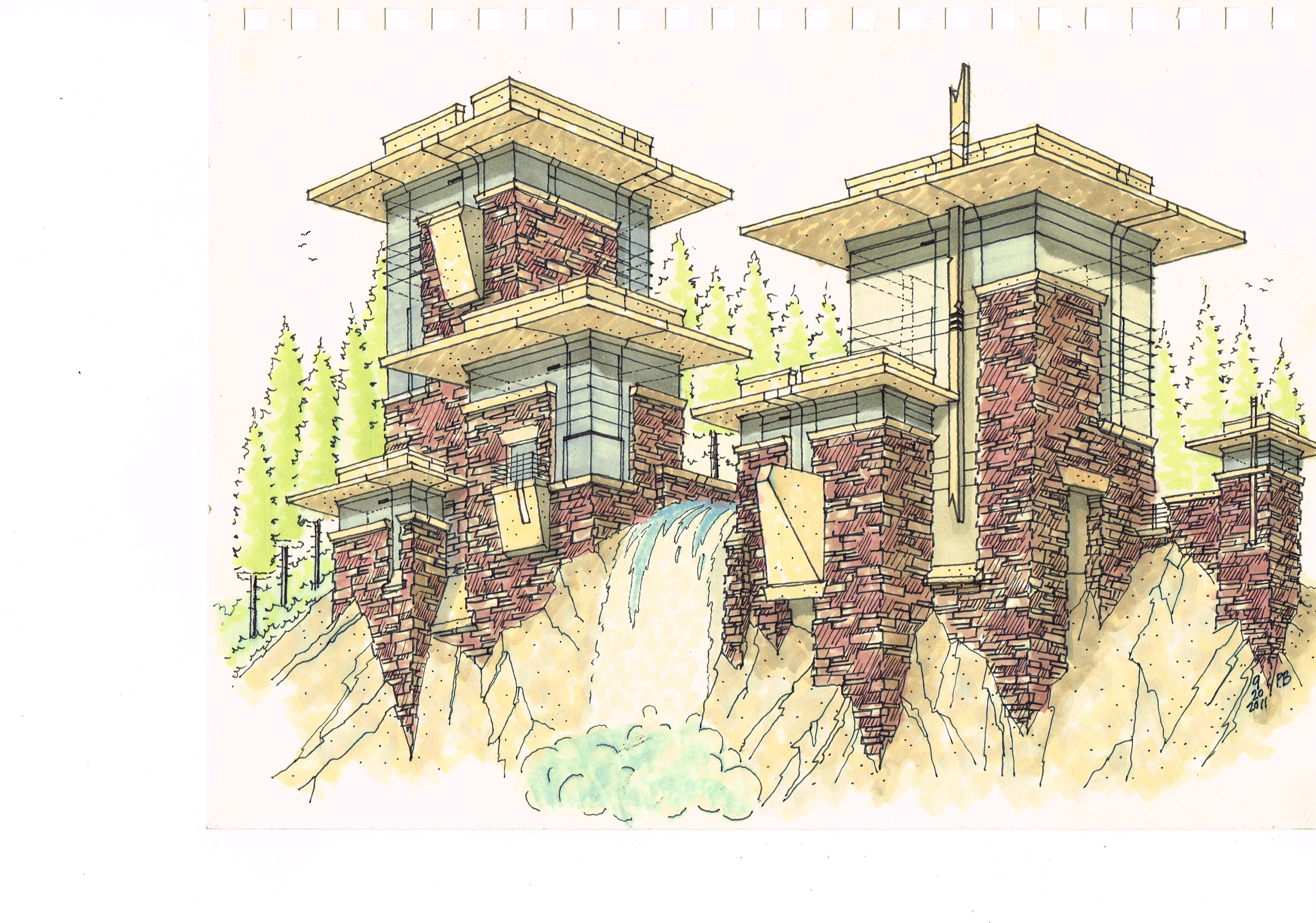 House concept - waterfall